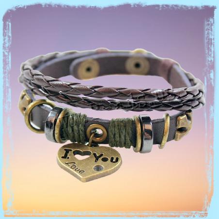 Love Armband Leder Bronze geflochten